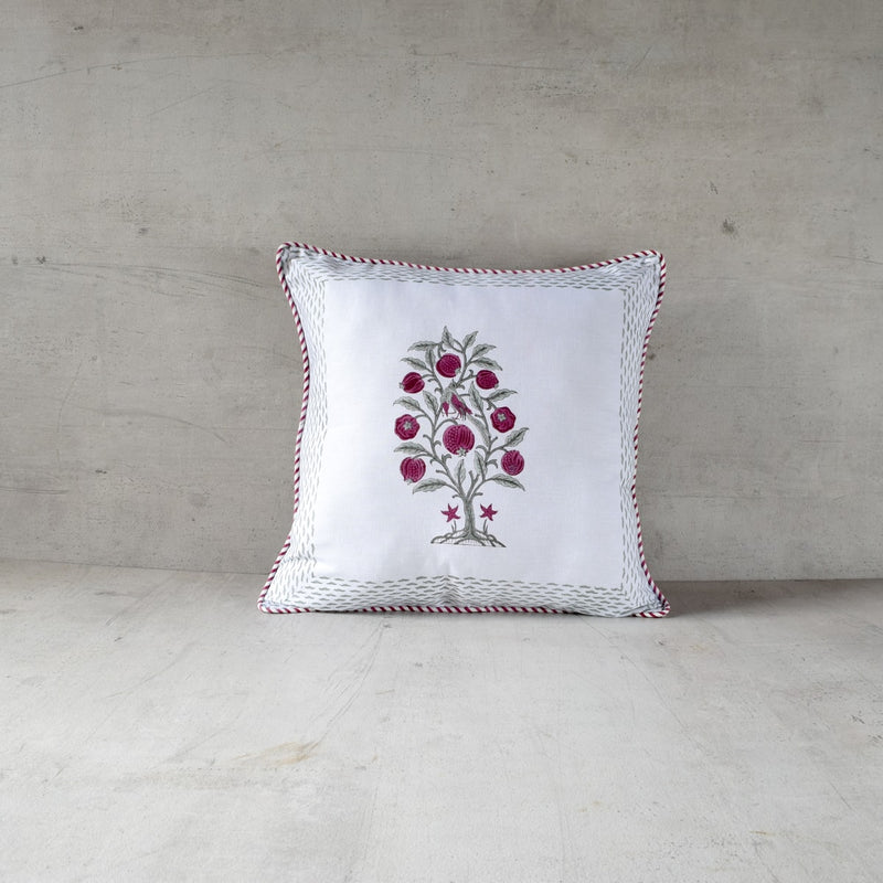 Pomegranate Tree and Bird Hand Block Print Cushion Cover