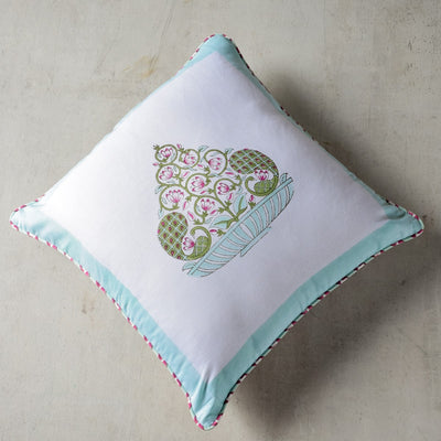An Indian Monsoon Hand Block Print Cushion Cover