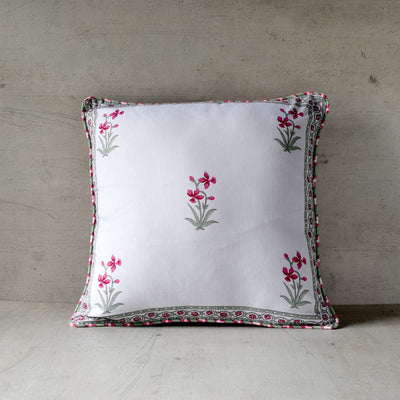 Summer Flower Hand Block Print Cushion Cover