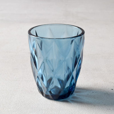 Aaron Blue Geometric Faceted Drinking Glass (Small) - Set of 4 - Home Artisan
