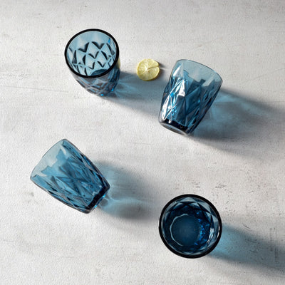 Aaron Blue Geometric Faceted Drinking Glasses (Small) - Set of 4 - Home Artisan_3
