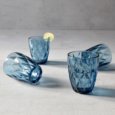 Aaron Blue Geometric Faceted Drinking Glasses (Small) - Set of 4