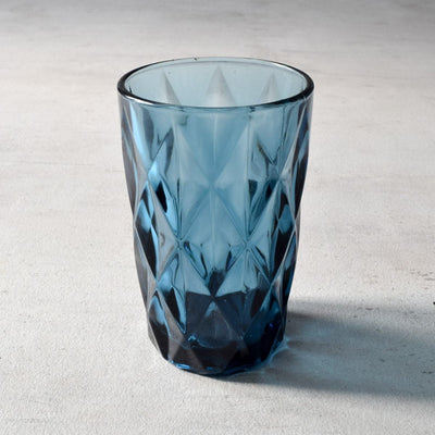 Aaron Blue Geometric Drinking Glass - Set of 4 - Home Artisan