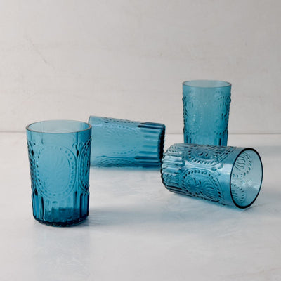 Isadora Blue Drinking Glass - Set of 4 - Home Artisan