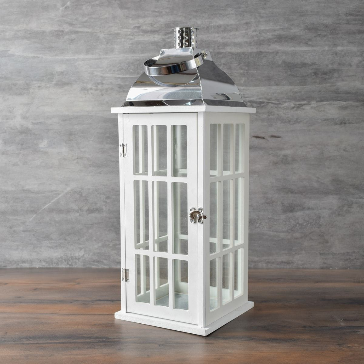 Chelton White Window Pane Wooden Lantern (Large) - Home Artisan