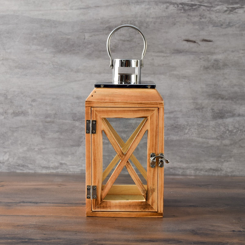 Yates Wooden Lantern with Jute Rope Handle (Small) - Home Artisan