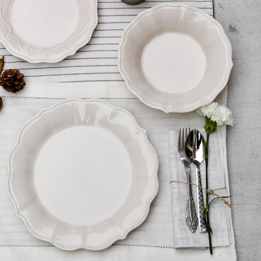 Morgan White Ceramic Dinner Plates - Set of 4