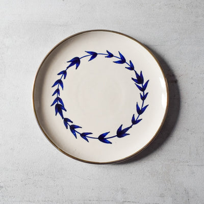 Hamptons Blue Botanical Print Ceramic Dinner Plate - Set of 2