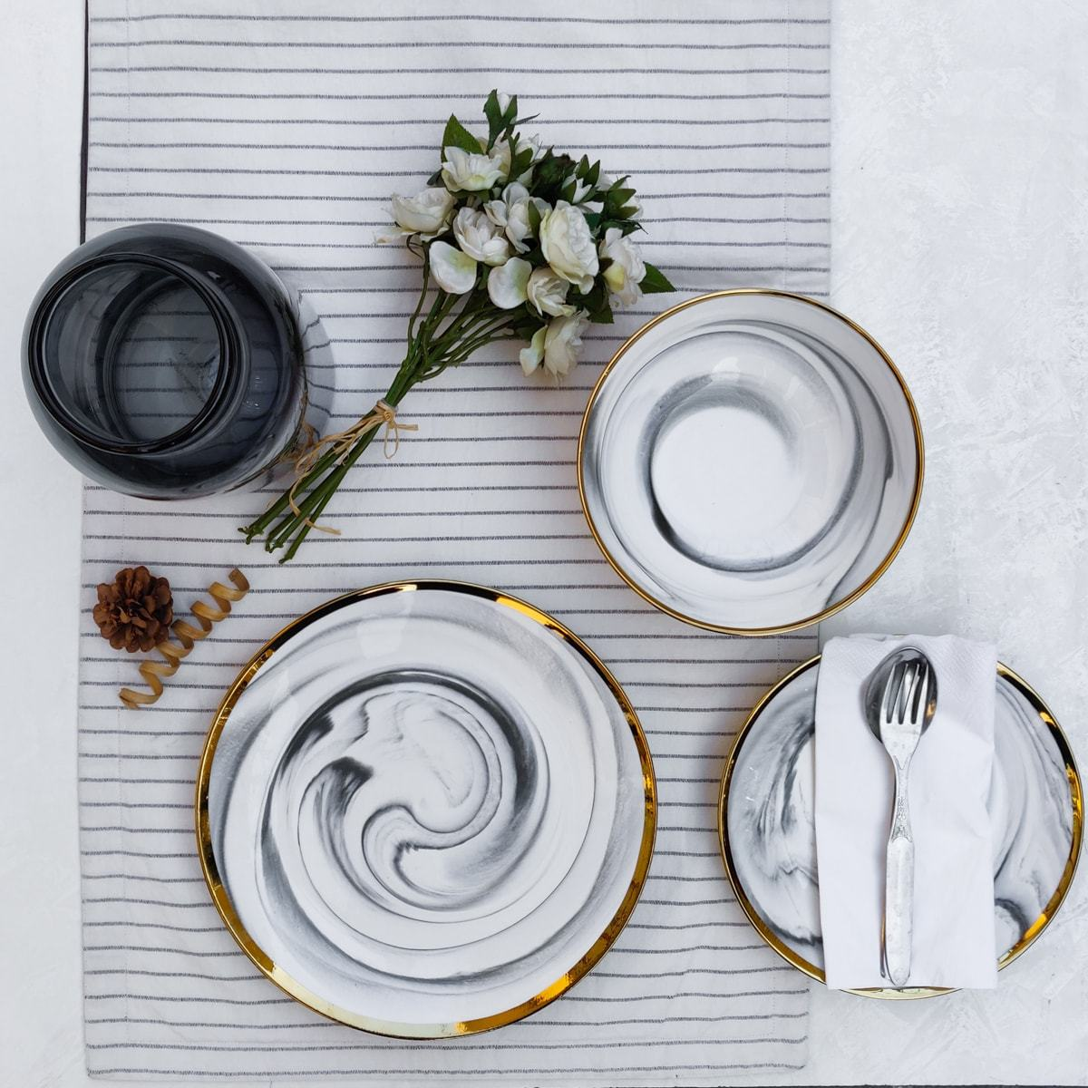 Dakota Grey Marble Swirl Dinner Plate - Set of 4