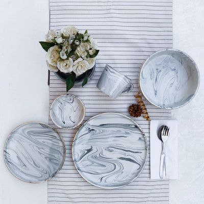 Silvano Grey Marble Swirl Serving Bowl - Set of 2