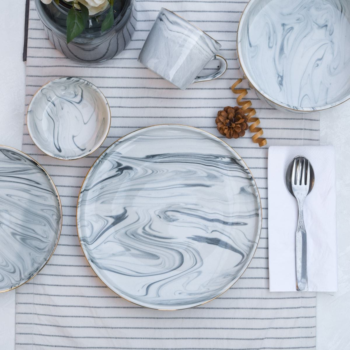 Silvano Grey Marble Swirl Dinner Plate - Set of 4