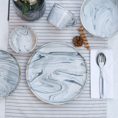 Silvano Grey Marble Swirl Dinner Plate - Set of 4 - Home Artisan