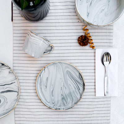 Silvano Grey Marble Swirl Side Plate - Set of 4 - Home Artisan