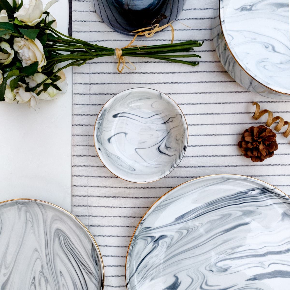 Silvano Grey Marble Swirl Katori - Set of 4
