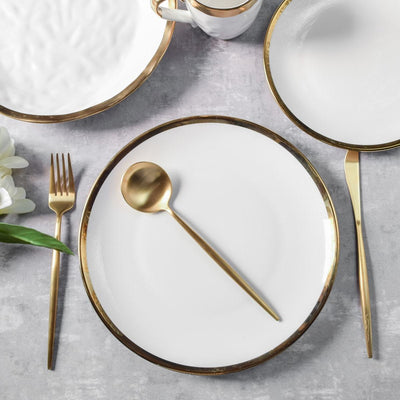 Kingsley White and Gold Dinner Plate - Set of 4
