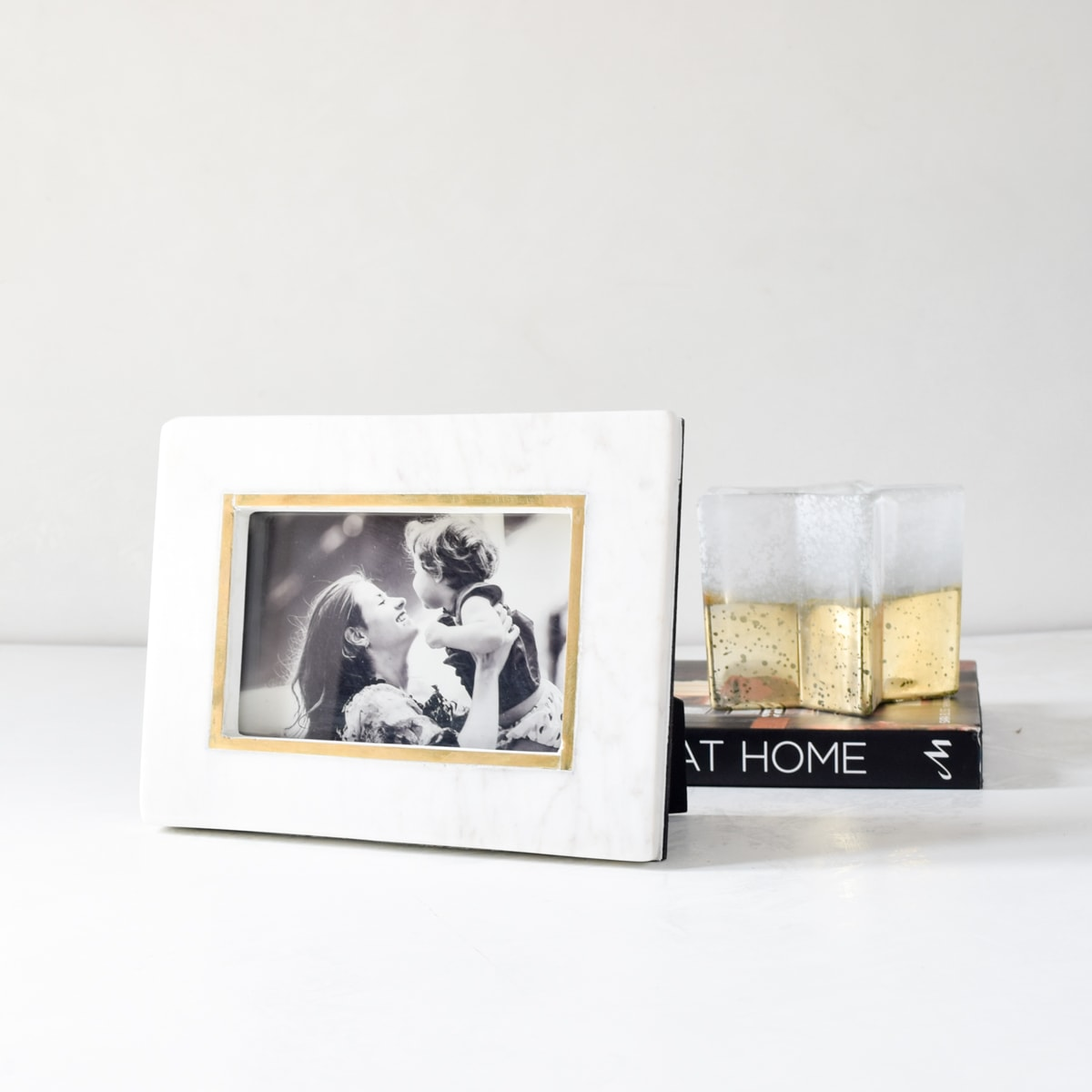 Duncan Marble and Brass Line Photo Frame