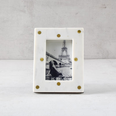 Clint Marble and Brass Polka Dot Photo Frame