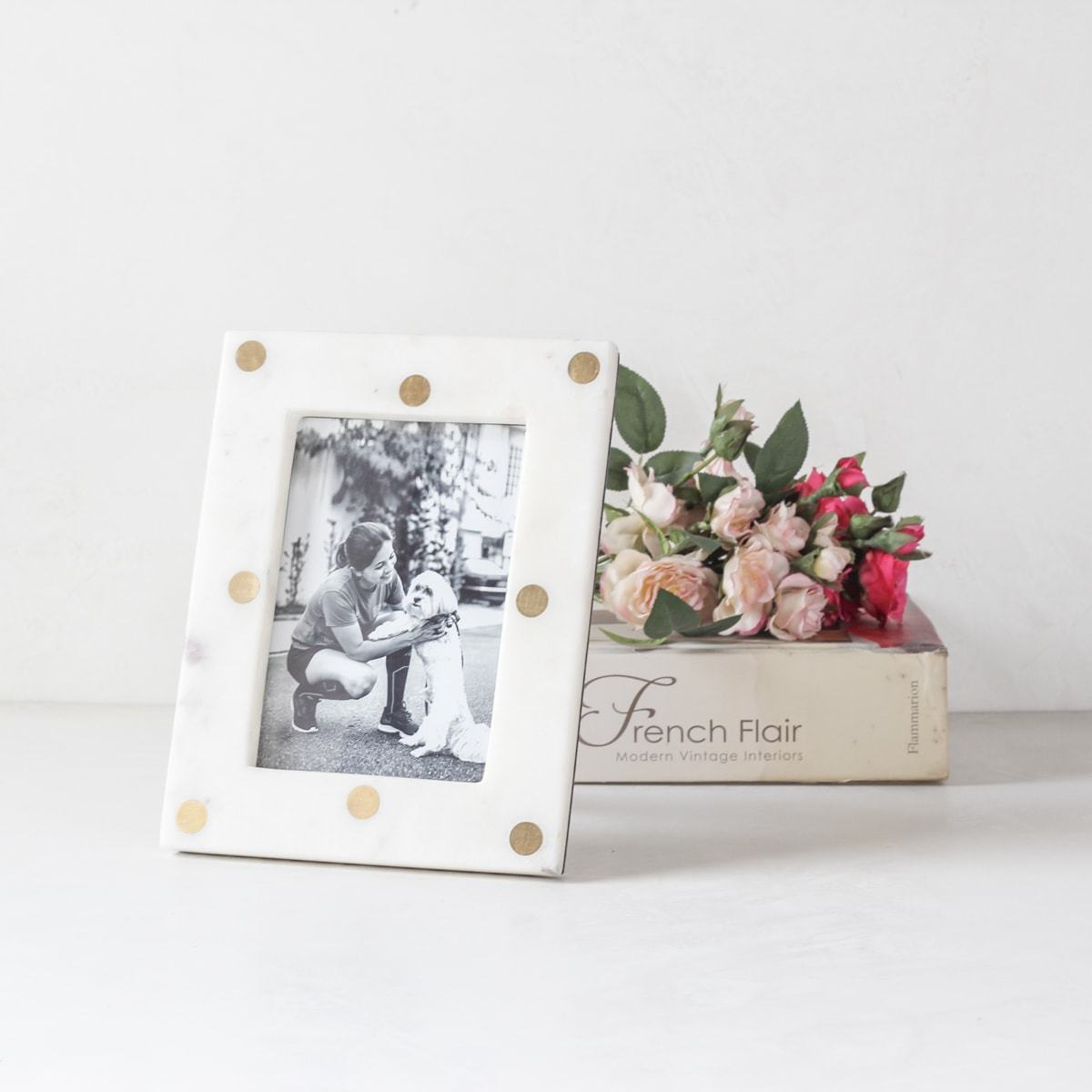 Drumond Marble and Brass Polka Dot Photo Frame