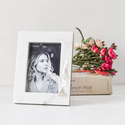 Mother of Pearl Cypress and Marble Photo Frame - Home Artisan