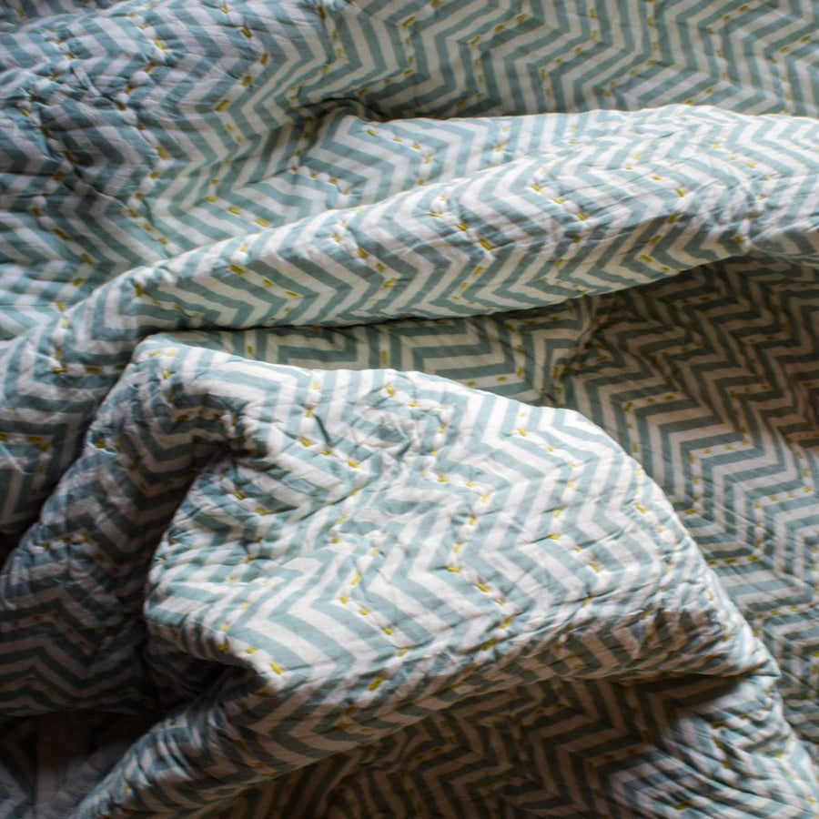 Sheldon Mint Chevron Print Quilt with Mustard Threadwork