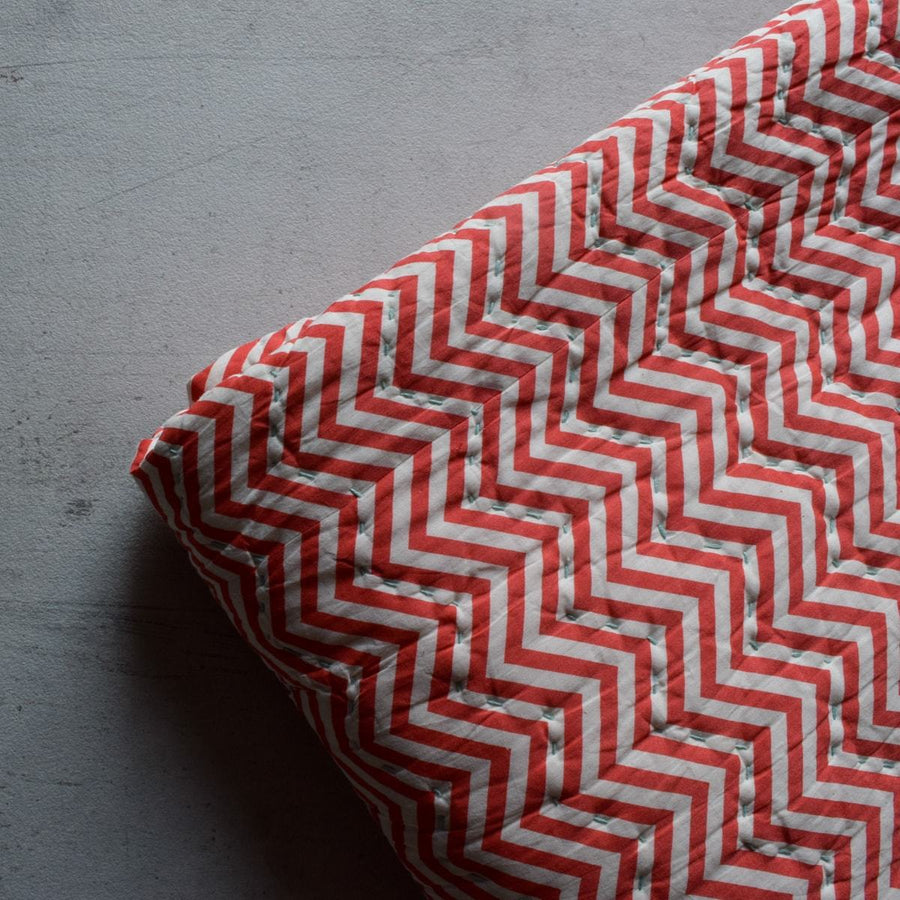 Chuck Red Chevron Print Quilt