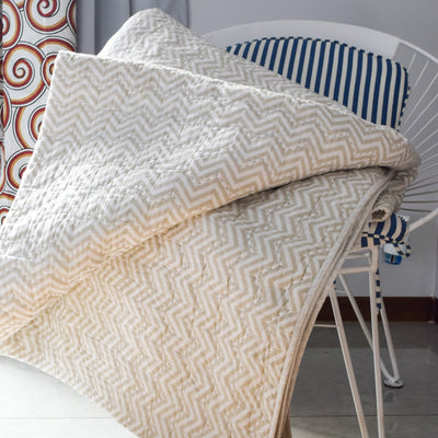 Valerie Beige and White Chevron Print Quilt - Home Artisan_2