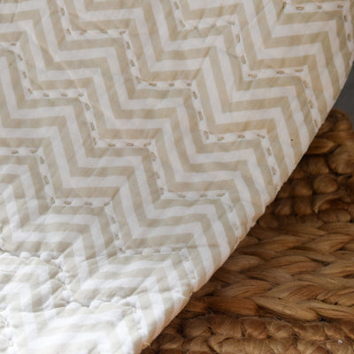 Valerie Beige and White Chevron Print Quilt - Home Artisan_3