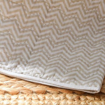 Valerie Beige and White Chevron Print Quilt - Home Artisan_1