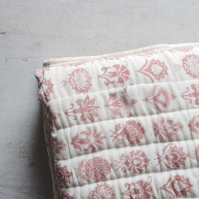 Zoey Red and White Botanical print Quilt - Home Artisan_2