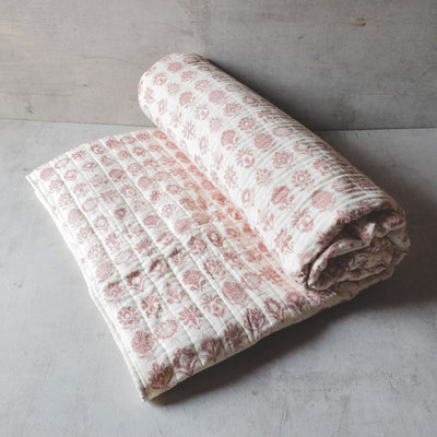 Zoey Red and White Botanical print Quilt - Home Artisan_3