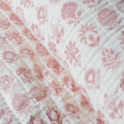 Zoey Red and White Botanical print Quilt - Home Artisan_4