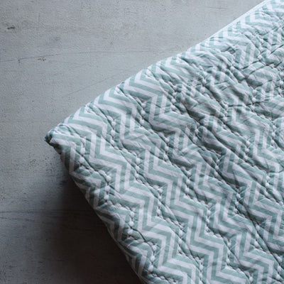 Ester Mint Chevron Print Quilt with Mint Threadwork - Home Artisan_4