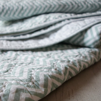 Ester Mint Chevron Print Quilt with Mint Threadwork - Home Artisan_2