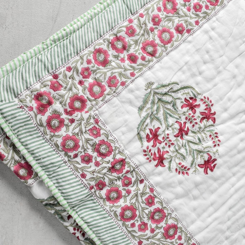 Himalayan Wildflower Hand Block Print Quilt