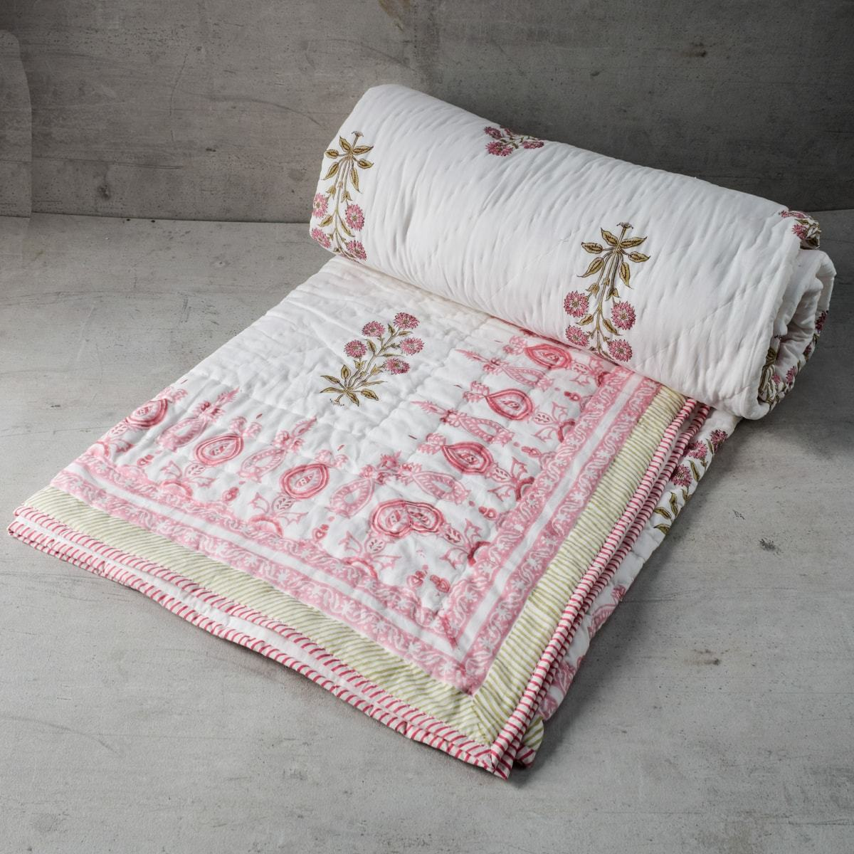 Blush Chrysanth Floral Pattern Hand Block Print Quilt - Home Artisan