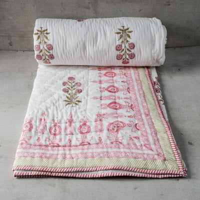 Blush Chrysanth Floral Pattern Hand Block Print Quilt
