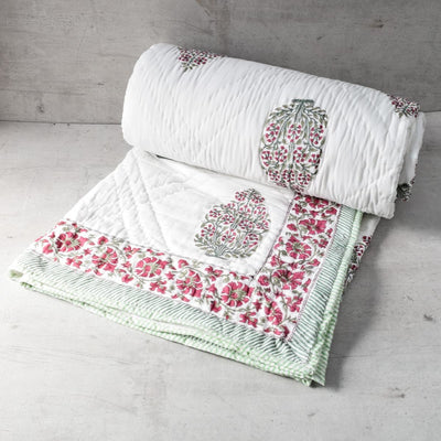 Periwinkle Cluster Hand Block Print Quilt - Home Artisan