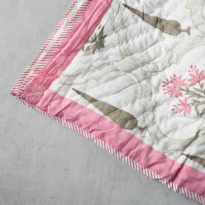 Cypress and Pink Wildflower Hand Block Print Quilt