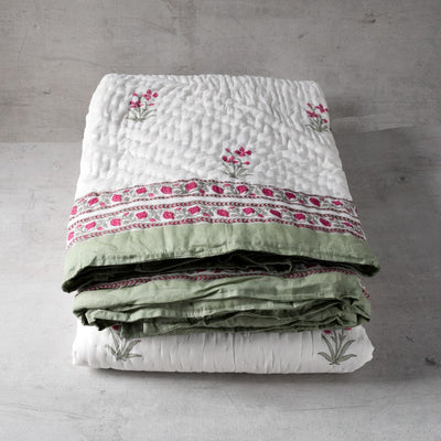 Summer Flower Hand Block Print Quilt