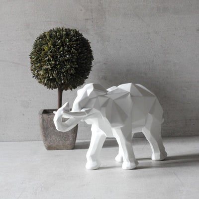 Ollie Geometric White Elephant Sculpture - Home Artisan