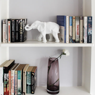 Ollie Geometric White Elephant Sculpture - Home Artisan_4