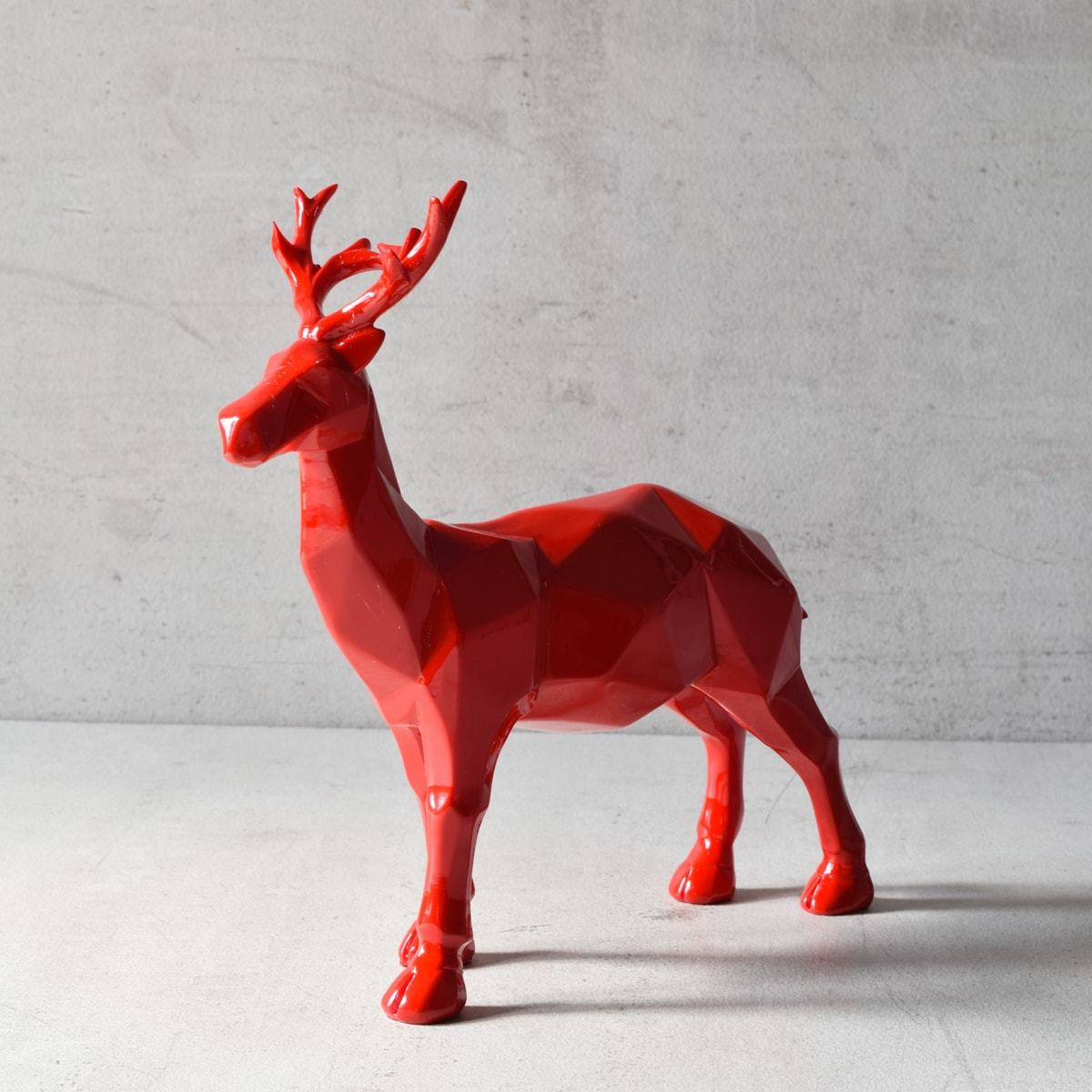 Burton Geometric Red Stag Sculpture - Home Artisan