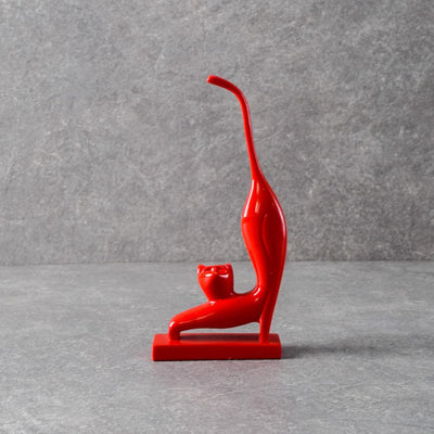 Lazy Strech Salem Red Cat Sculpture