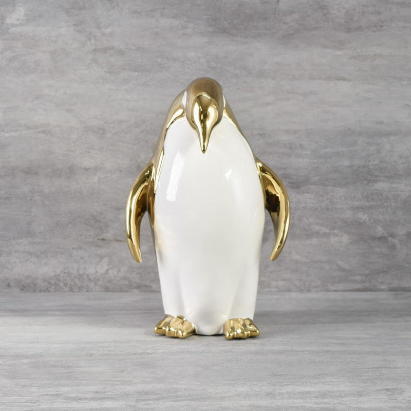 Speck Ivory and Gold Ceramic Penguin Sculpture - Home Artisan