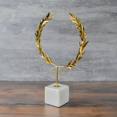 Golden Olive Wreath Sculpture - Home Artisan