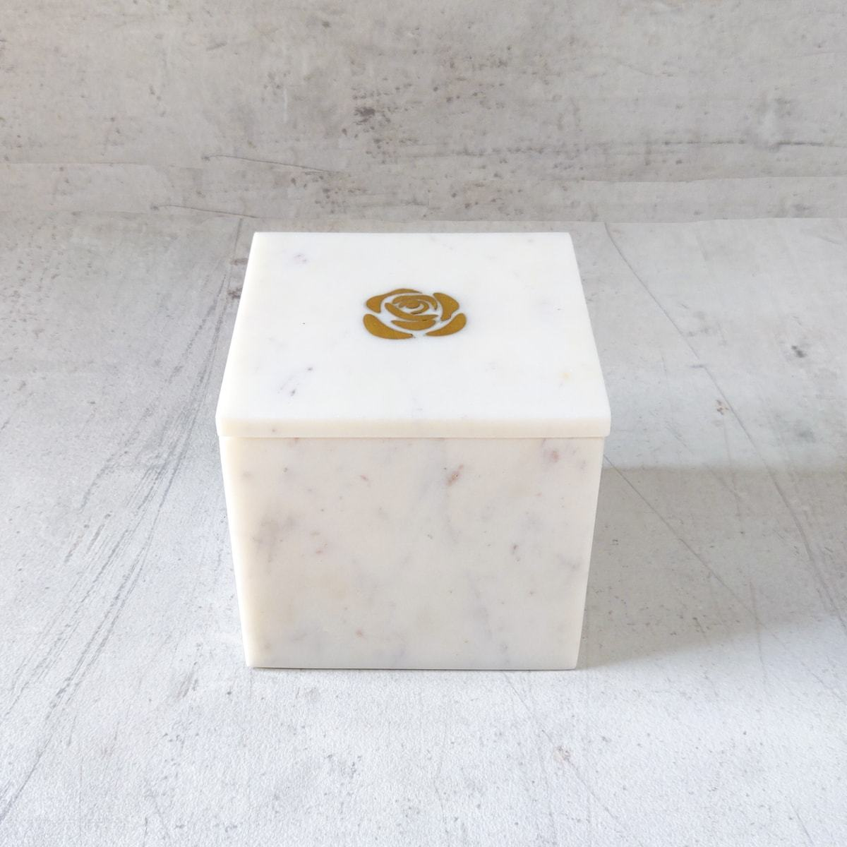 Rosa Marble box with Brass Inlay