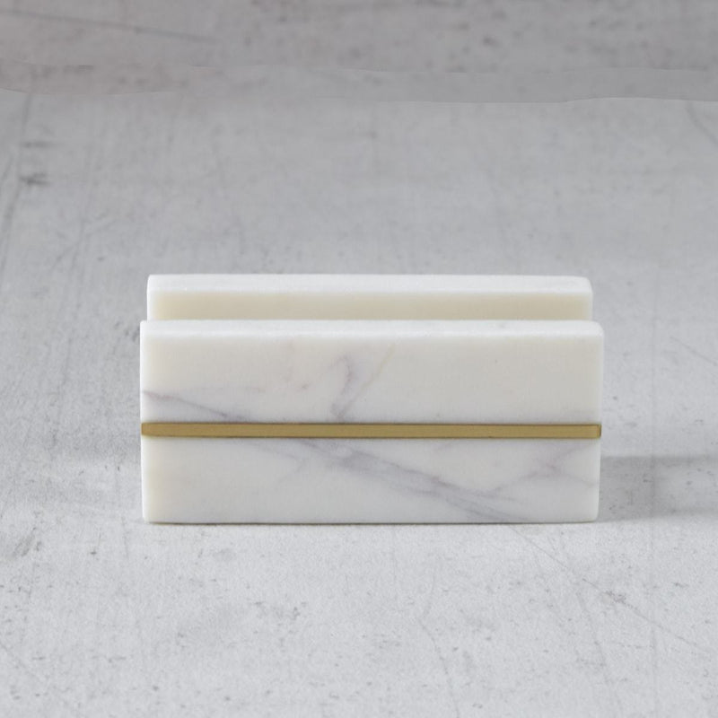 Marble Visiting Card Holder with Brass Line Inlay
