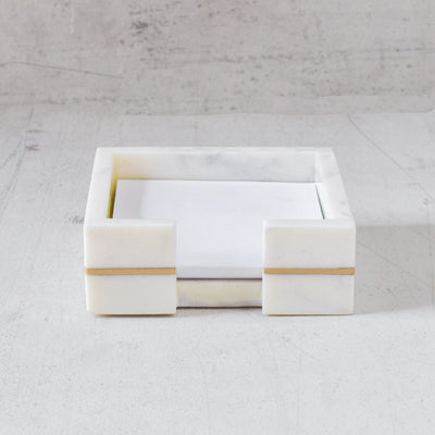 Marble Note Pad Holder with Brass Line Inlay - Home Artisan