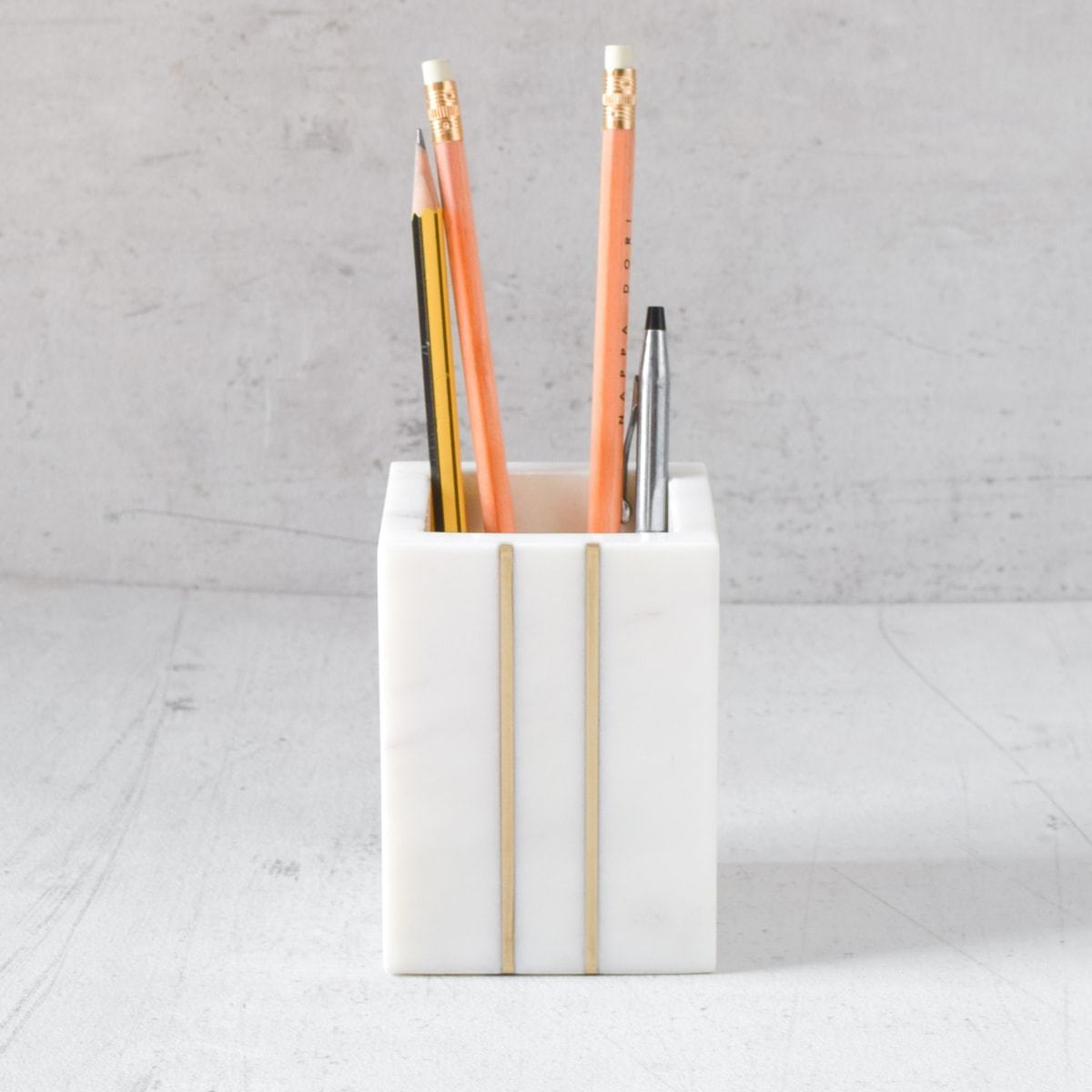 Marble Pen Stand with Vertical Brass Line Inlay