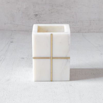 Marble Pen Stand with Brass Cross Inlay